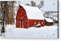 Country Holiday Barn Acrylic Print by Teri Virbickis