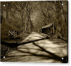 Country Road In Sepia Acrylic Print by Cecil Fuselier