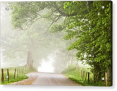 Country Road In The Fog Acrylic Print by Andrew Soundarajan