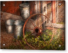 Country - Some Dented Pails And An Old Wheel  Acrylic Print by Mike Savad