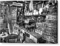 Country Store Supplies Black And White Acrylic Print by Ken Smith
