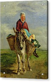 Country Woman Riding A Donkey Acrylic Print by Constant-Emile Troyon