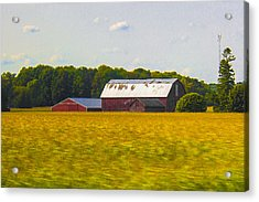 Countryside Landscape With Red Barns Acrylic Print by Ben and Raisa Gertsberg