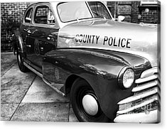 County Police In Black And White Acrylic Print by John Rizzuto