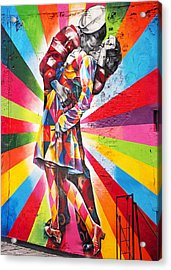 Couple Kissing In Times Square On V-j Day Acrylic Print by Rona Black