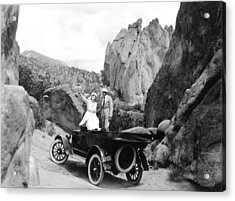 Couple Out For A Ride Acrylic Print by Underwood Archives