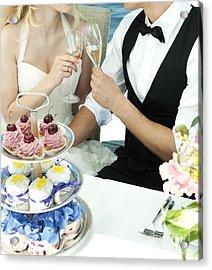 Couple Toasting At Wedding Acrylic Print by Jacek Malipan