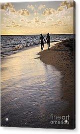Couple Walking On A Beach Acrylic Print by Elena Elisseeva