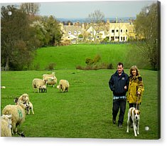 Couple With Dog On Cotswold Way Trail Through Green Pastures Near Broadway Village England Acrylic Print by Robert Ford