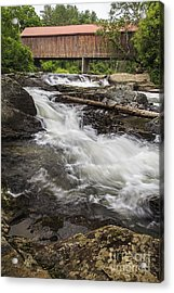 Covered Bridge And Waterfall Acrylic Print by Edward Fielding