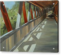 Covered Bridge At Roswell Mill Acrylic Print by Jean Scanlin Wright