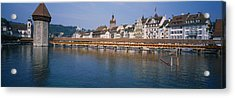 Covered Bridge Over A River, Chapel Acrylic Print by Panoramic Images