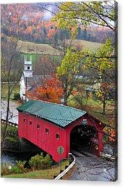 Covered Bridge-west Arlington Vermont Acrylic Print by Thomas Schoeller