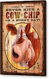 Cow Chip Acrylic Print by JQ Licensing