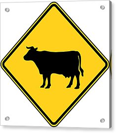 Cow Crossing Sign Acrylic Print by Marvin Blaine