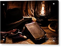 Cowboy Bible Acrylic Print by Olivier Le Queinec