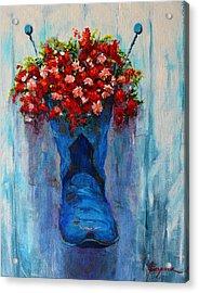 Cowboy Boot Unusual Pot Series  Acrylic Print by Patricia Awapara