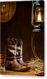 Cowboy Boots At The Ranch Acrylic Print by Olivier Le Queinec
