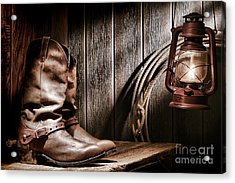 Cowboy Boots In Old Barn Acrylic Print by Olivier Le Queinec