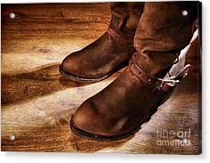 Cowboy Boots On Saloon Floor Acrylic Print by Olivier Le Queinec