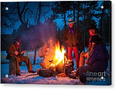 Cowboy Campfire Acrylic Print by Inge Johnsson