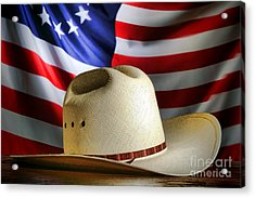 Cowboy Hat And American Flag Acrylic Print by Olivier Le Queinec