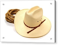 Cowboy Hat And Rope Acrylic Print by Olivier Le Queinec