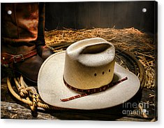 Cowboy Hat On Lasso Acrylic Print by Olivier Le Queinec