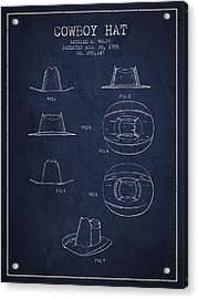 Cowboy Hat Patent From 1985 - Navy Blue Acrylic Print by Aged Pixel