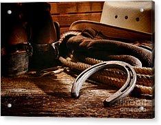 Cowboy Horseshoe Acrylic Print by Olivier Le Queinec