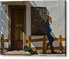 Cowboy Mural In Benson Arizona Usa Acrylic Print by Dave Dilli