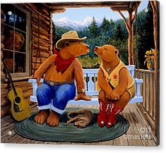 Cowboy Romance Acrylic Print by Charles Fennen