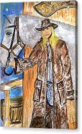 Cowgirl Acrylic Print by Igor Kotnik