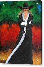 Cowgirl Acrylic Print by Lance Headlee