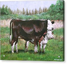 Cows In Field Demo Small Painting Acrylic Print by Martin Davey