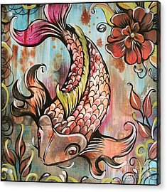 Coy Koi Acrylic Print by Shadia Derbyshire