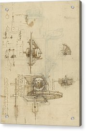Crank Spinning Machine With Several Details Acrylic Print by Leonardo Da Vinci