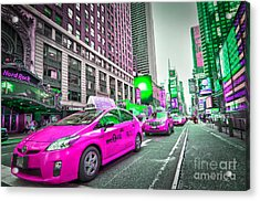Crazy Cabs In Manhattan Acrylic Print by Delphimages Photo Creations