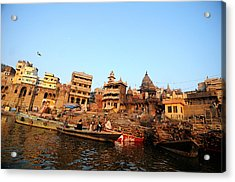 Cremation Ghat Of Varanasi Acrylic Print by Money Sharma