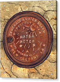 Crescent City Water Meter Acrylic Print by Elaine Hodges