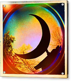 Crescent Moon Over Eureka Springs Acrylic Print by Garry McMichael