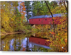 Cresson Covered Bridge 3 Acrylic Print by Joann Vitali