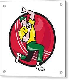 Cricket Fast Bowler Bowling Ball Side Acrylic Print by Aloysius Patrimonio