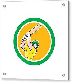 Cricket Player Batsman Batting Circle Cartoon Acrylic Print by Aloysius Patrimonio