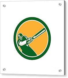 Cricket Player Batsman Batting Circle Retro Acrylic Print by Aloysius Patrimonio