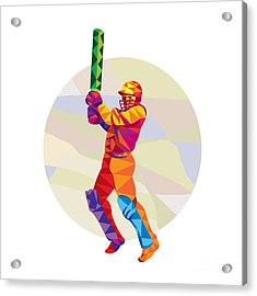 Cricket Player Batsman Batting Low Polygon Acrylic Print by Aloysius Patrimonio