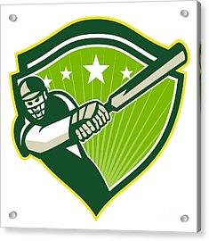 Cricket Player Batsman Star Crest Retro Acrylic Print by Aloysius Patrimonio