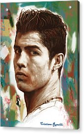 Cristiano Ronaldo Stylised Pop Art Drawing Potrait Poster Acrylic Print by Kim Wang