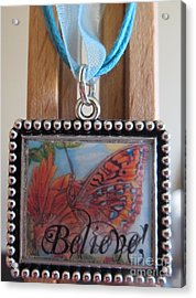 Believe...a Colorful Butterfly Lights Upon A Tiger Lily In A Necklace Acrylic Print by Kimberlee Baxter