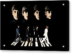 Crossing Into History The Beatles  Acrylic Print by Iconic Images Art Gallery David Pucciarelli